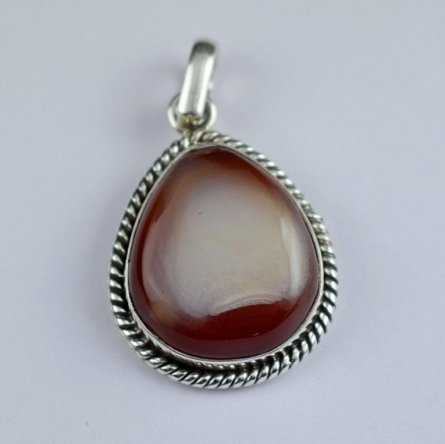 925 Sterling Silver Banded Agate Cabochon Gemstone Pendant Free Shipping ISJ-17