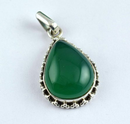 925 Sterling Silver Rare Green Onxy Cabochon Gemstone Pendant Free Shipping ISJ-20