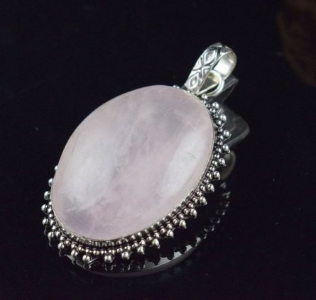 Beautiful Rose Quartz Gemstone Silver Plated Vintage Look,Fashion Pendant,Boho Pendant,Gypsy Pendant