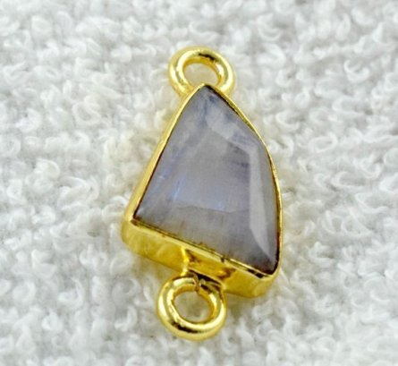 Pic Double Bail Pendant Moon Stone Gemstone Gold Plated Handmade Pendant