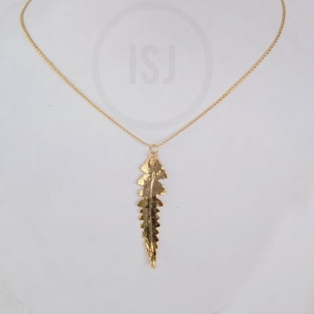 Splendid Gold Plated Leaf Pendant For Women Without Chain